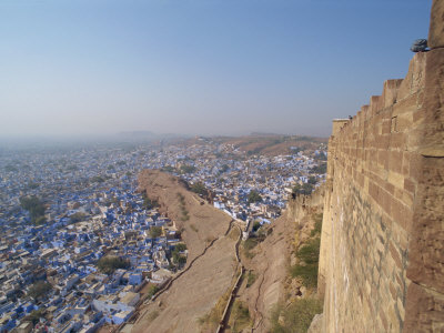 View from Fort of Blue Houses of Brahmin Caste Residents of City, Jodhpur, Rajasthan State, India Photographic Print by Harding Robert