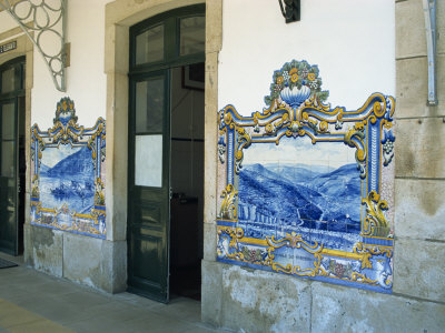 Pinhao Railway Station, Famous for its Tiles Depicting Port Making, Douro Region, Portugal, Europe Photographic Print by Harding Robert