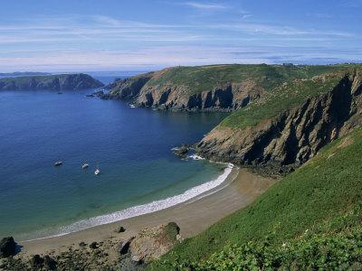 Vue aérienne de la plage de La Grande Grève, Sark, Îles Anglo-Normandes, Royaume-Uni, Meilleures Destinations de Voyage, Europe, poster photo