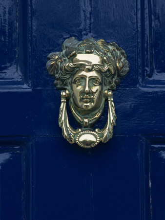 Blue Painted Door and Knocker in the Centre of the City of Dublin, Eire, Europe Photographic Print by Gavin Hellier