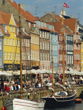 Busy Restaurant Area, Nyhavn, Copenhagen, Denmark, Scandinavia, Europe Photographic Print by Harding Robert