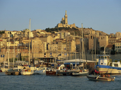 Vieux Port to the Basilica of Notre Dame De La Garde, Marseille, Provence, France Photographic Print by Tomlinson Ruth