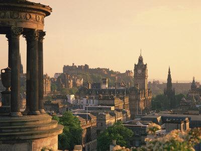 Dugald Stewart Monument and View over Princes Street, Edinburgh, Lothian, Scotland Photographic Print by Rainford Roy