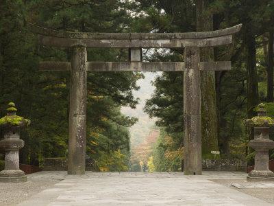 Stone Torii, Tosho-Gu Shrine, Nikko, Central Honshu, Japan Photographic Print by Schlenker Jochen