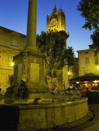 Place De L'Hotel De Ville after Dark, Aix-En-Provence, Bouches-Du-Rhone, Provence, France, Europe Photographic Print by Tomlinson Ruth