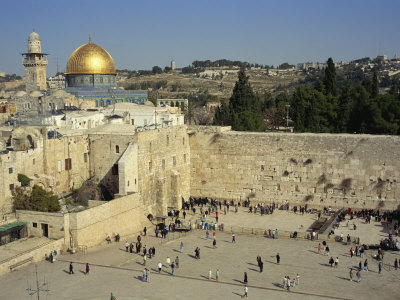 Western or Wailing Wall, with the Gold Dome of the Rock, Jerusalem, Israel Photographic Print by Simanor Eitan