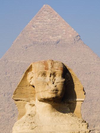 Sphynx and the Pyramid of Khafre, Giza, Near Cairo, Egypt Photographic Print by Schlenker Jochen