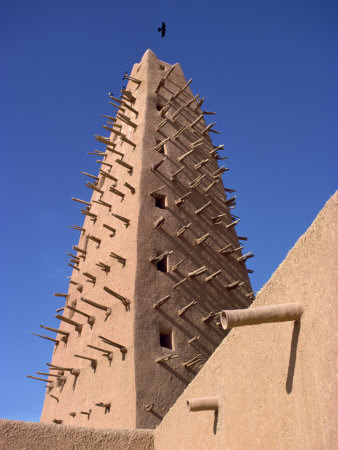 Detail of Mosque Minaret in Agadez, Sahel, Niger, Africa Photographie