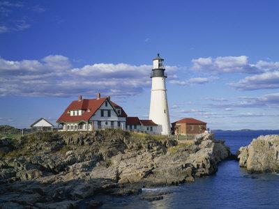 Portland Head Lighthouse on Rocky Coast at Cape Elizabeth, Maine, New England, USA Photographic Print by Rainford Roy