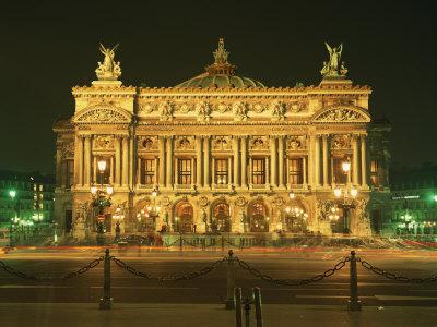Facade of L'Opera De Paris, Illuminated at Night, Paris, France, Europe Photographic Print by Rainford Roy
