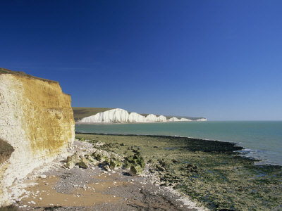 View to the Seven Sisters from Beach Below Seaford Head, East Sussex, England, United Kingdom Photographic Print by Tomlinson Ruth
