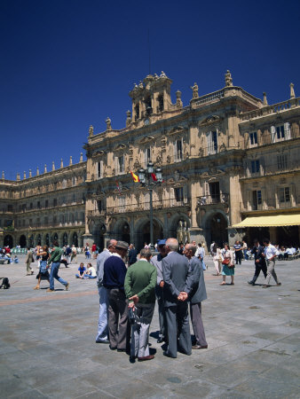 Men Talking in Front of the Town Hall in the Plaza Mayor, Salamanca, Castilla Y Leon, Spain Photographic Print by Tomlinson Ruth