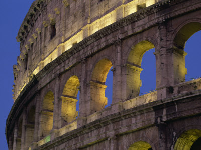 Detail of the Colosseum Illuminated after Dark, Rome, Lazio, Italy, Europe Photographic Print by Tomlinson Ruth