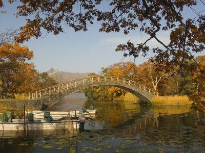 Lake Onuma and Mount Komaga-Dake, Onuma Quasi-National Park, Hokkaido, Japan Photographic Print by Schlenker Jochen
