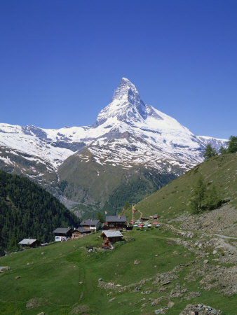 Chalets and Restaurants Below the Matterhorn in Switzerland, Europe Photographic Print by Rainford Roy
