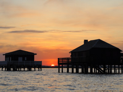 Houses on Stilts at Sunset, Bay of Arcachon, Gironde, Aquitaine, France, Europe Photographic Print by Groenendijk Peter