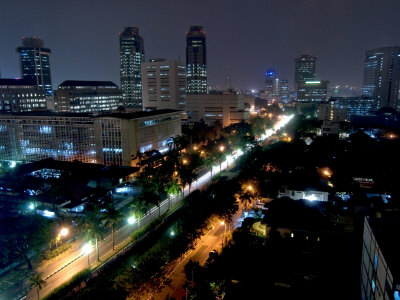 Cityscape at Night, Jakarta, Indonesia, Southeast Asia Photographic Print by Porteous Rod