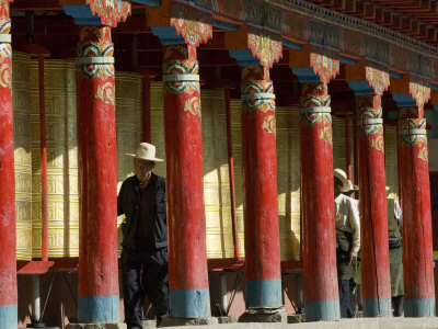 Old Men Turning Prayer Wheels, Tagong Temple, Tagong, Sichuan, China Photographic Print by Porteous Rod