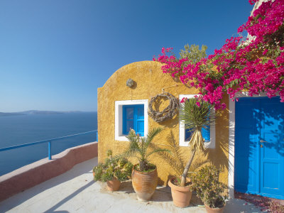 Colorful House in Santorini, Cyclades, Greek Islands