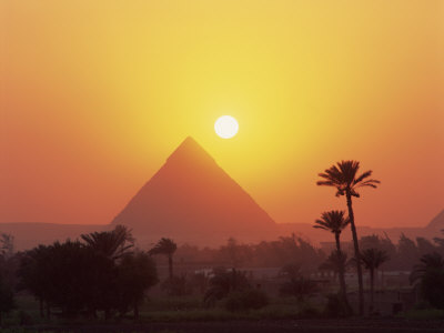 Pyramid Silhouetted at Sunset, Giza, UNESCO World Heritage Site, Cairo, Egypt, North Africa, Africa Photographic Print by Groenendijk Peter
