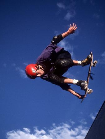 Male Skaeboarder Flys over the Vert, Boulder, Colorado, USA Photographic Print