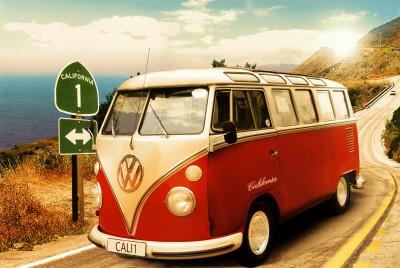 Volkswagen Camper w Kalifornii plakat
