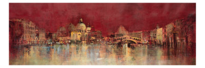 Venice at Night Premium Giclee Print by  Kemp