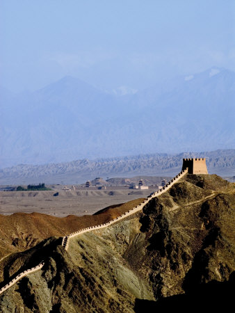 Beginning of the Great Wall, UNESCO World Heritage Site, Jiayuguan, Gansu, China Photographic Print by Porteous Rod