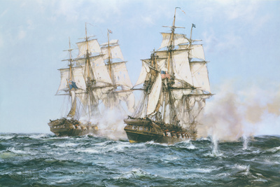 The Action Between the Java and Constitution Premium Giclee Print by Montague Dawson