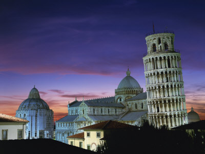 Leaning Tower, Duomo and Baptistery at Sunset in the City of Pisa, Tuscany, Italy Photographic Print