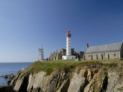 Saint Mathieu Lighthouse and Ruined Abbey, Brittany, France, Europe Photographic Print by Groenendijk Peter