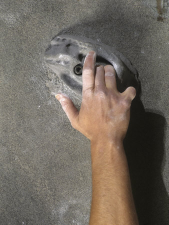 Detail of Hand on Wall Climbing Grip Photographic Print