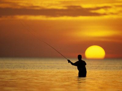 Fly Fisherman in the Florida Keys, Florida, USA Photographic Print