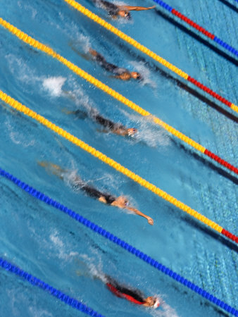 Action During Women's Backstroke Race, Athens, Greece Photographic Print by Paul Sutton