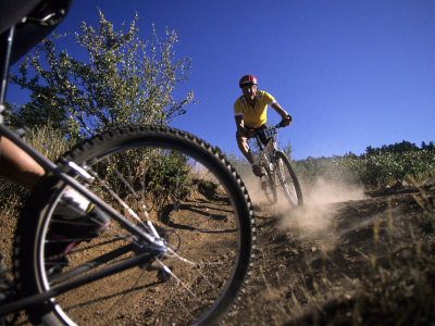 Cyclist in a Mountain Biking Race, Denver, Colorado, USA Lmina fotogrfica