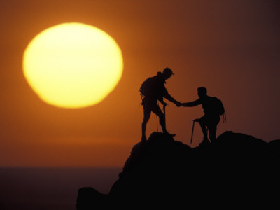 Two Climbers Reach the Summit at Sunrise, Colorado, USA Photographic Print