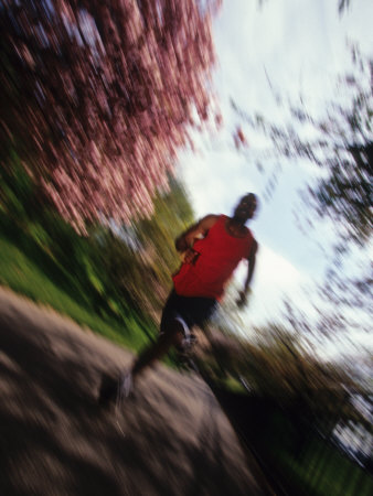 Male Runner Out for a Fitness Run, New York, New York, USA Fotografisk tryk af Chris Trotman