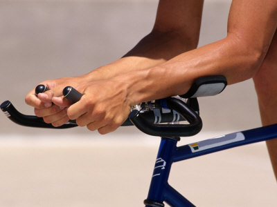 Detail of Cyclists Hands Photographic Print