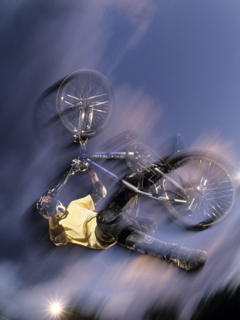 Bmx Cyclist Flying Off the Vert Photographic Print