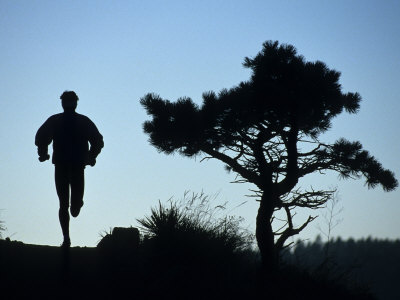 Silhouette of Runner and Tree Photographic Print