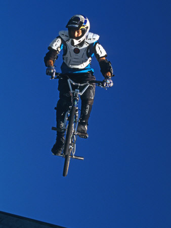 Bmx Cyclist Flys over the Vert Photographie