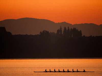 Silhouette of Men's Eights Rowing Team in Action, Vancouver Lake, Washington, USA Photographic Print