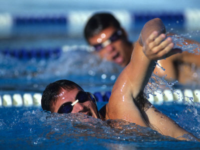 Male Swimmers in Action Photographic Print