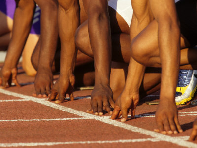 Detail of Runners Hands at the Start of a Mens 100M Race Photographic Print by Steven Sutton