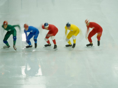 Short Track Speed Skaters at the Starting Line Photographic Print by Steven Sutton