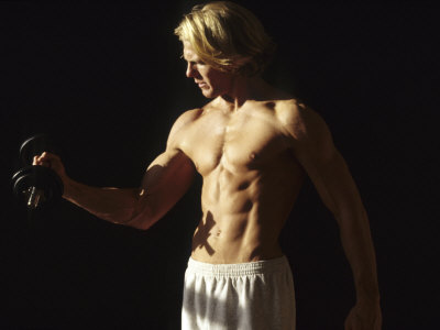 Man Working Out with Hand Wieghts, New York, New York, USA Fotografisk tryk af Chris Trotman