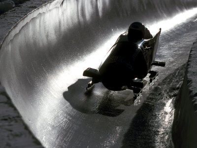 Silhouette of Bobsled in Action, Park City, Utah, USA Fotografisk tryk af Chris Trotman