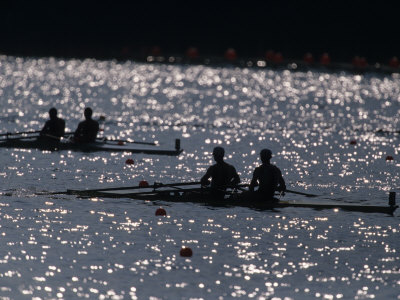 Silhouette of Men's Pairs Rowing Teams in Action, Atlanta, Georgia, USA Photographic Print