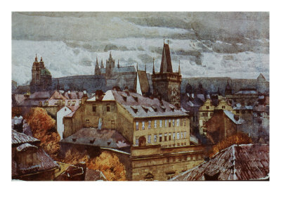 Prague, View of Rooftops, 19th Century Giclée-Druck