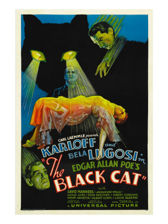 The Black Cat, Boris Karloff, Harry Cording, Jacqueline Wells, Bela Lugosi, 1934 Premium Poster